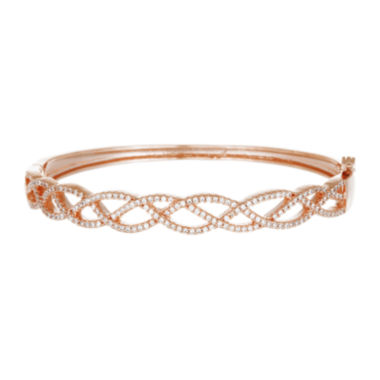 jcpenney.com | Cubic Zirconia 18K Rose Gold Over Brass Loop Bangle
