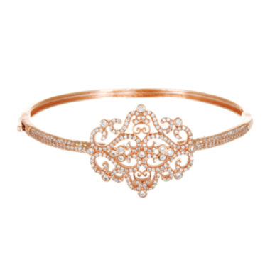 jcpenney.com | Cubic Zirconia 18K Rose Gold Over Brass Filigree Bangle