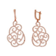 Cubic Zirconia 18K Rose Gold Over Brass Filigree Drop Earrings