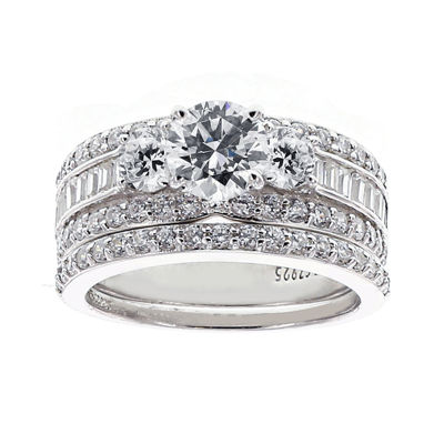 DiamonArt Stainless Steel Cubic Zirconia Bridal Ring Set