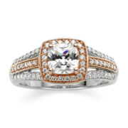 DiamonArt® Cushion-Cut Cubic Zirconia 14K Rose Gold Over Silver Ring