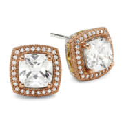 DiamonArt® Cushion-Cut Cubic Zirconia 14K Rose Gold Over Silver Stud Earrings