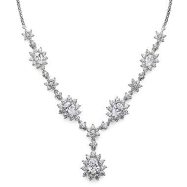 jcpenney.com | DiamonArt® Cubic Zirconia Sterling Silver Cluster Drop Necklace
