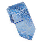 JF J. Ferrar® Ombré Paisley Tie with Color Tie Bar - Slim