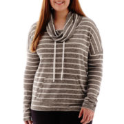 City Streets® Long-Sleeve Hooded Pullover Striped Tunic - Plus