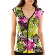 Worthington® Short-Sleeve Tipped V-Neck Top - Petite