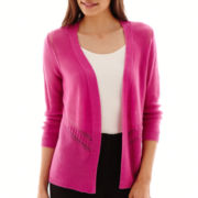 Worthington® Pointelle Open Flyaway Cardigan Sweater - Petite
