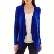 a.n.a® Long-Sleeve Chiffon-Trim Cozy Open Cardigan - Petite