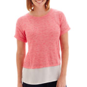 Liz Claiborne® Short-Sleeve Dual-Texture Slub T-Shirt - Petite