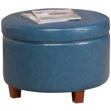 jcpenney.com | Round Faux-Leather Storage Ottoman