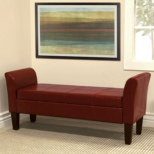 Faux-Leather Two-Arm Storage Bench