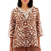 Alfred Dunner® Indian Summer 3/4-Sleeve Medallion Lace-Neck Tunic Top