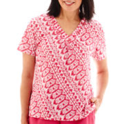 Alfred Dunner® Indian Summer Short-Sleeve Geo-Print Layered Top with Necklace