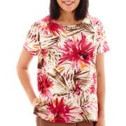 Alfred Dunner® Indian Summer Short-Sleeve Tropical Leaf Print Top