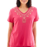 Alfred Dunner® Indian Summer Short-Sleeve Beaded Yoke Knit Top