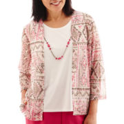 Alfred Dunner® Indian Summer 3/4-Sleeve Mosaic Tile Print Layered Top with Necklace