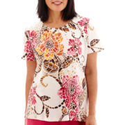 Alfred Dunner® Indian Summer Short-Sleeve Geo-Print Layered Top