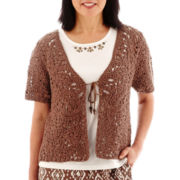 Alfred Dunner® Indian Summer Short-Sleeve Tie-Front Crochet Layered Top