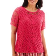 Alfred Dunner® Indian Summer Short-Sleeve Crochet Lace-Front Top