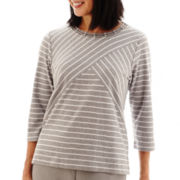 Alfred Dunner® Lake Meade 3/4-Sleeve Spliced Striped Knit Top