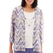 Alfred Dunner® Lake Meade 3/4-Sleeve Biadere Layered Top with Necklace
