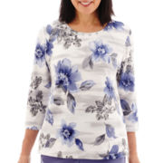Alfred Dunner® Lake Meade 3/4-Sleeve Stencil Floral Print Top