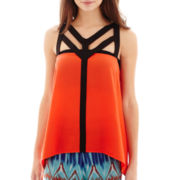 Bisou Bisou® Sleeveless Colorblock Cage Top