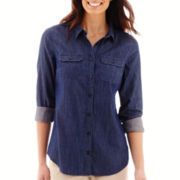 St. John's Bay® Long-Sleeve Button Front Campshirt