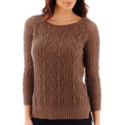 St. John's Bay® 3/4-Sleeve Crochet Sweater