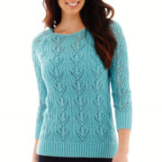 St. John's Bay® 3/4-Sleeve Crochet Sweater - Tall