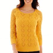 St. John's Bay® 3/4-Sleeve Crochet Sweater - Tall