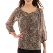 Alyx® 3/4-Sleeve Tie-Neck Print Peasant Top