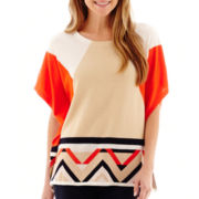 Stylus™ Short-Sleeve Colorblock Poncho Top- Petites