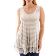 a.n.a® Lace-Trim Slub Knit Tank Top - Plus