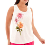 St. John's Bay® Floral Print Smocked-Neck Tank Top - Plus