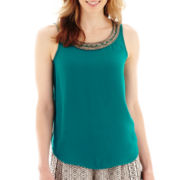 Liz Claiborne® Beaded Scoopneck Tank Top