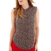 Liz Claiborne® Sleeveless Button-Front Blouse