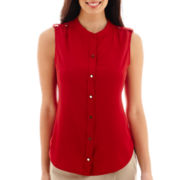 Liz Claiborne® Sleeveless Button-Front Blouse