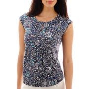 Liz Claiborne® Sleeveless Extended-Shoulder Front-Pleat Top