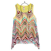 Beautees Chevron Tank Top with Necklace - Girls 7-16