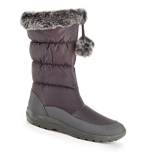 Henry Ferrera Front-Zip Faux-Fur Lining Snow Boots