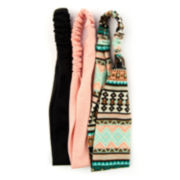 Carole 3-pk. Solid & Tribal Print Stretch Headbands
