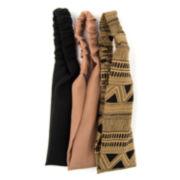 Carole 3-pk. Solid & Tribal Print Fabric Headbands