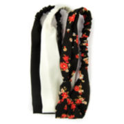 Carole 3-pk. Solid & Flower Print Silky Fabric Headbands