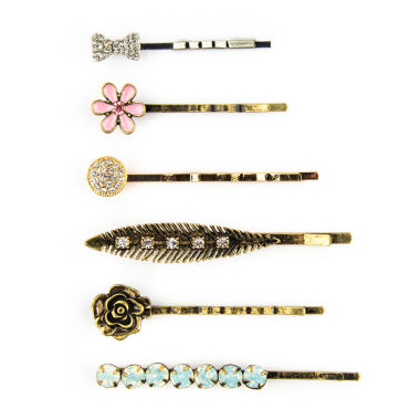 jcpenney.com | Carole 6-pc. Stone, Simulated Pearl & Leaf Bobby Pin Set