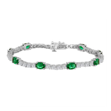 jcpenney.com | Simulated Emerald and Cubic Zirconia Sterling Silver Over Brass Bracelet