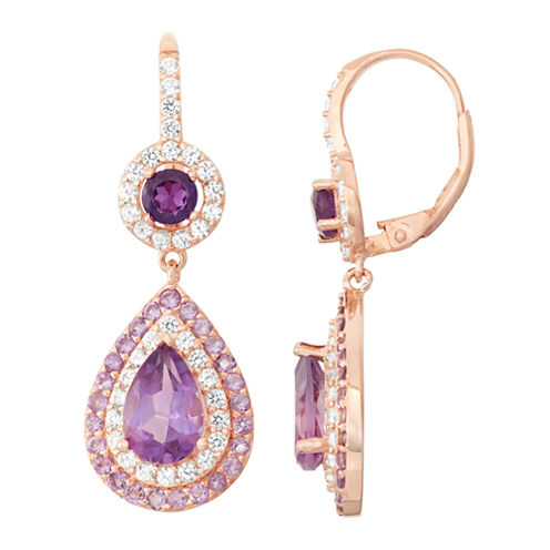 Genuine Amethyst & Lab Created White Sapphire 14K Rose Gold Over Silver Earrings