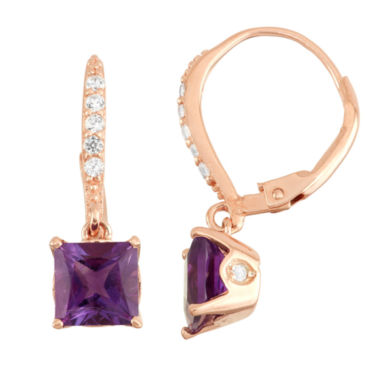 jcpenney.com | Genuine Amethyst & Diamond Accent 14K Rose Gold Over Silver Earrings