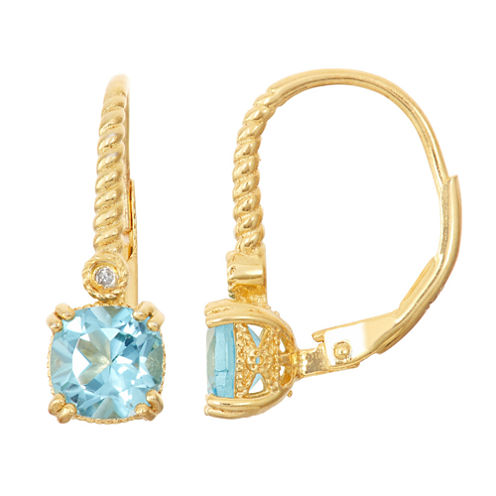 Genuine Swiss Blue Topaz & Diamond Accent 14K Gold Over Silver Earrings
