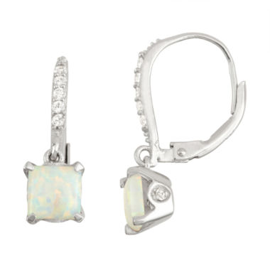 jcpenney.com | Lab Created Opal & Diamond Accent 14K Rose Gold Over Silver Earrings